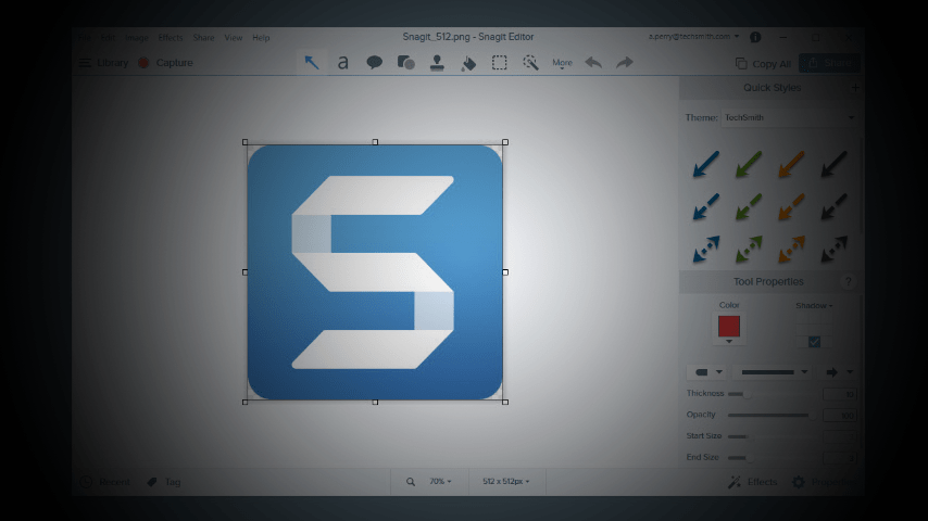 Screenshot of Snagit Editor with themed arrows
