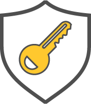 Shield with key graphic.