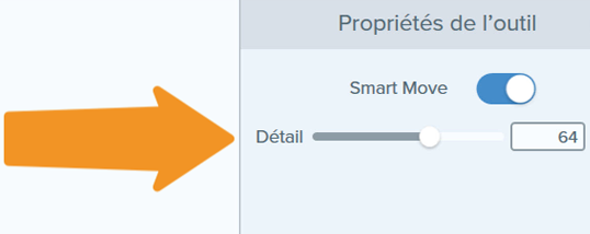 Orange arrow pointing out the control slider to manage Smart Move.