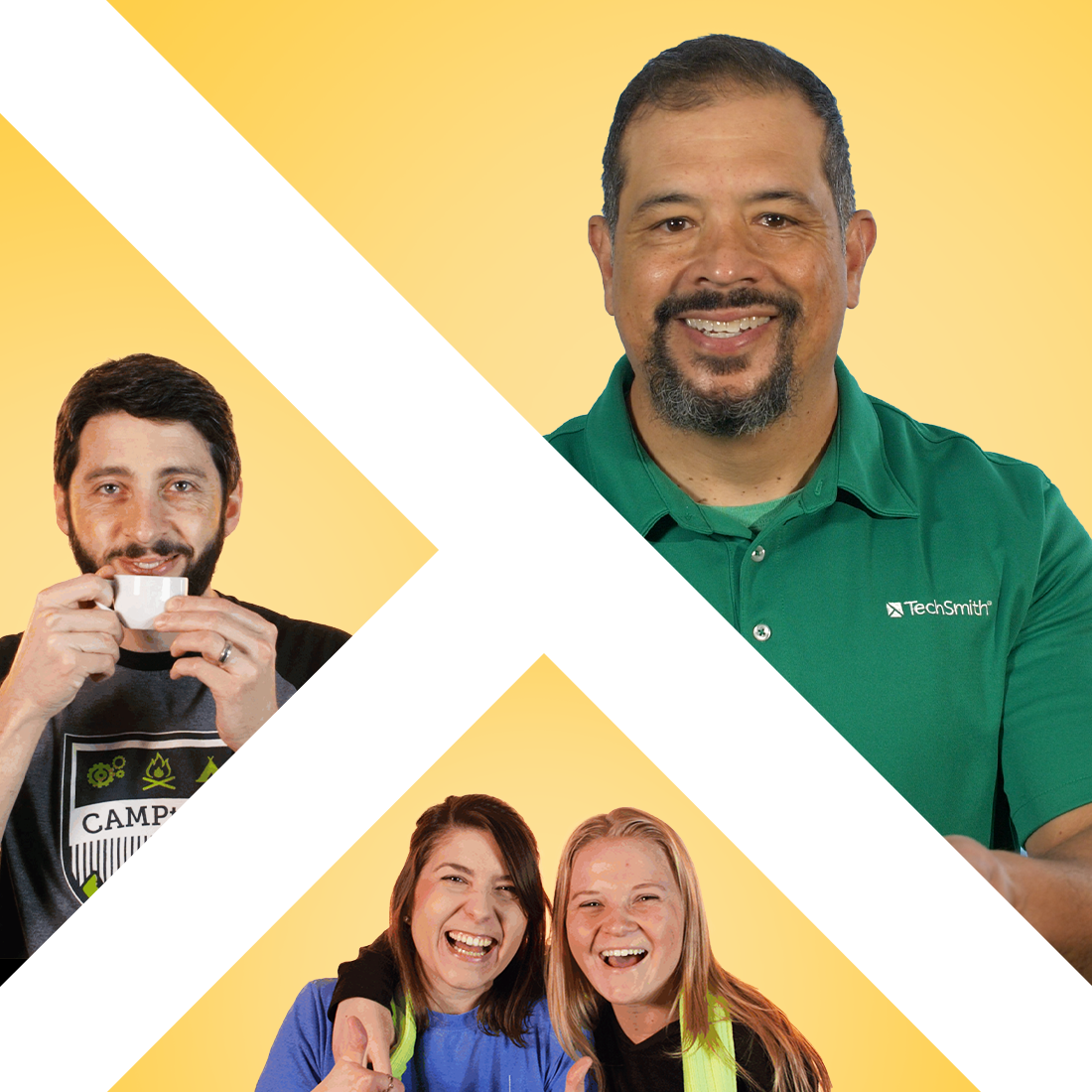 TechSmith logo super imposed with images of employees.