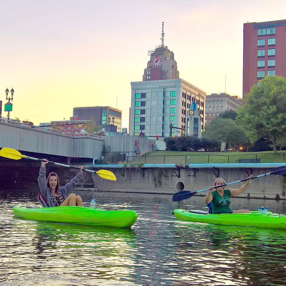 Kayaks on the Grand River in Lansing.