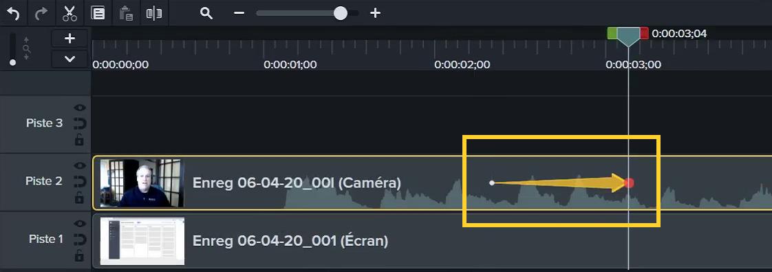 Faites glisser une animation sur un clip dans le plan de montage, puis redimensionnez ou repositionnez ce clip sur le canevas.
