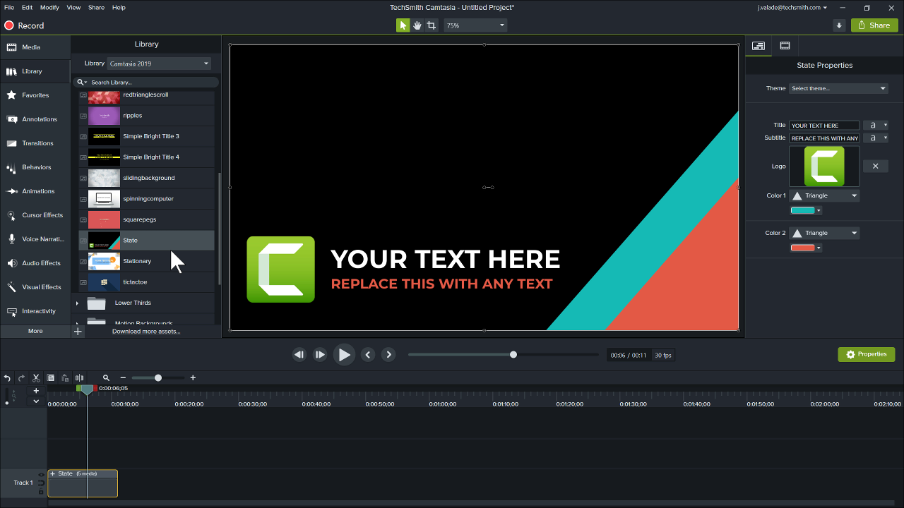 Camtasia Editor showing the library of assets