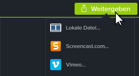 Camtasia share button