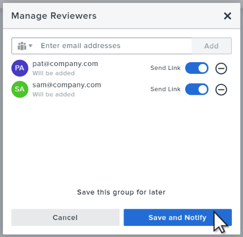 Manage reviewers window