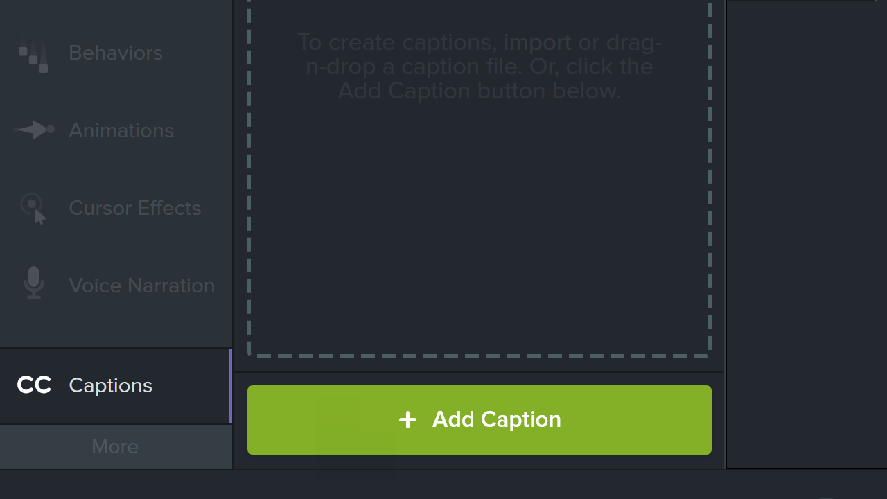 Add captions button in Camtasia