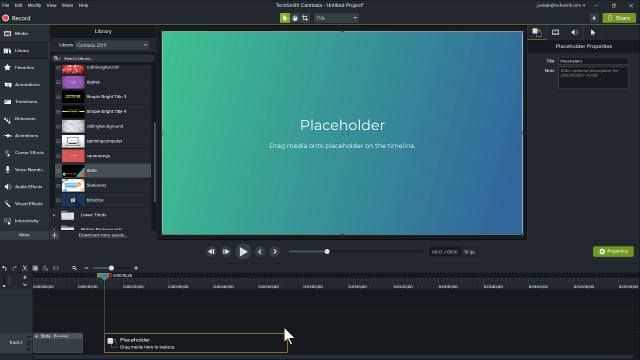 Camtasia Editor showing a Placeholder