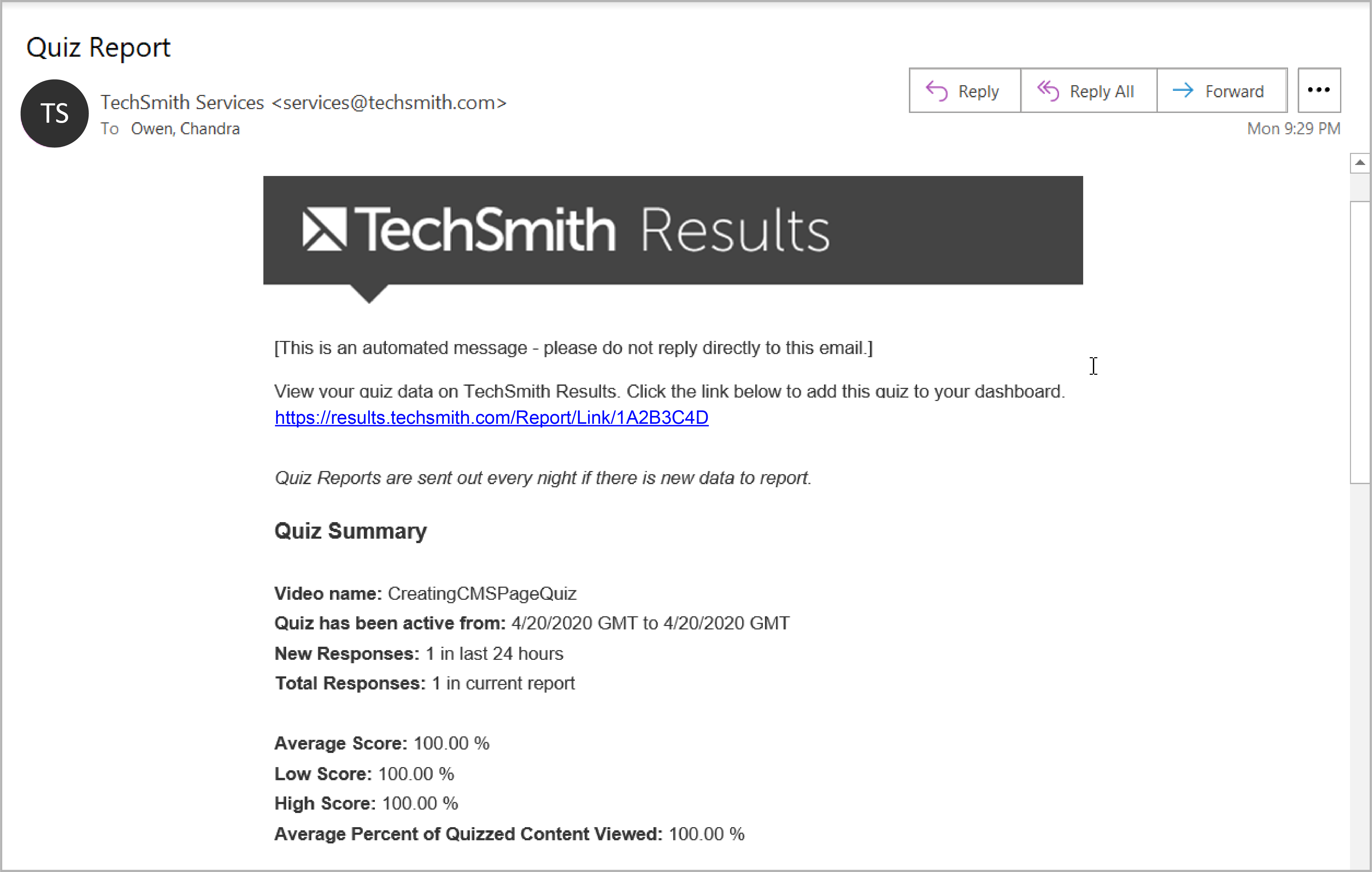Email showing the results from the days quiz