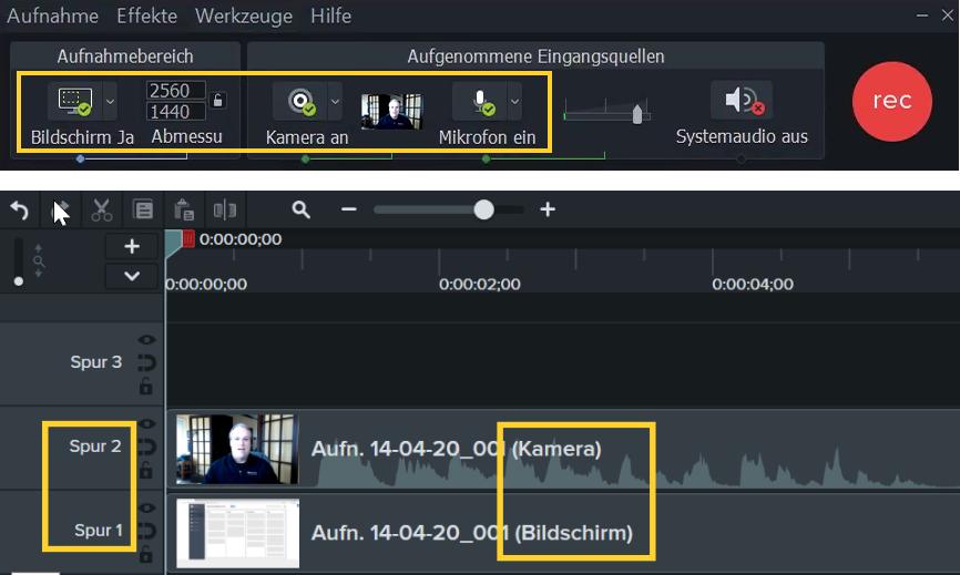 wird die Bildschirmaufnahme Spur 1 hinzugefügt, während sich die kombinierte Webkamera- und Mikrofonaufnahme auf Spur 2 im Editor befindet.