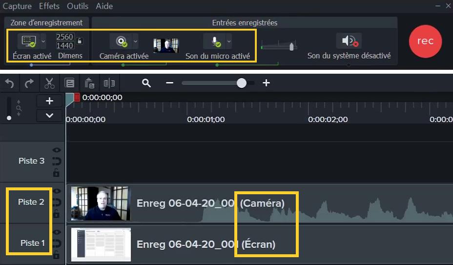 Si vous enregistrez la webcam et l'écran en même temps, la capture d'écran s'insère sur la piste 1 et la vue de la webcam combinée au son du micro s'ajoute à la piste 2 du plan de montage.