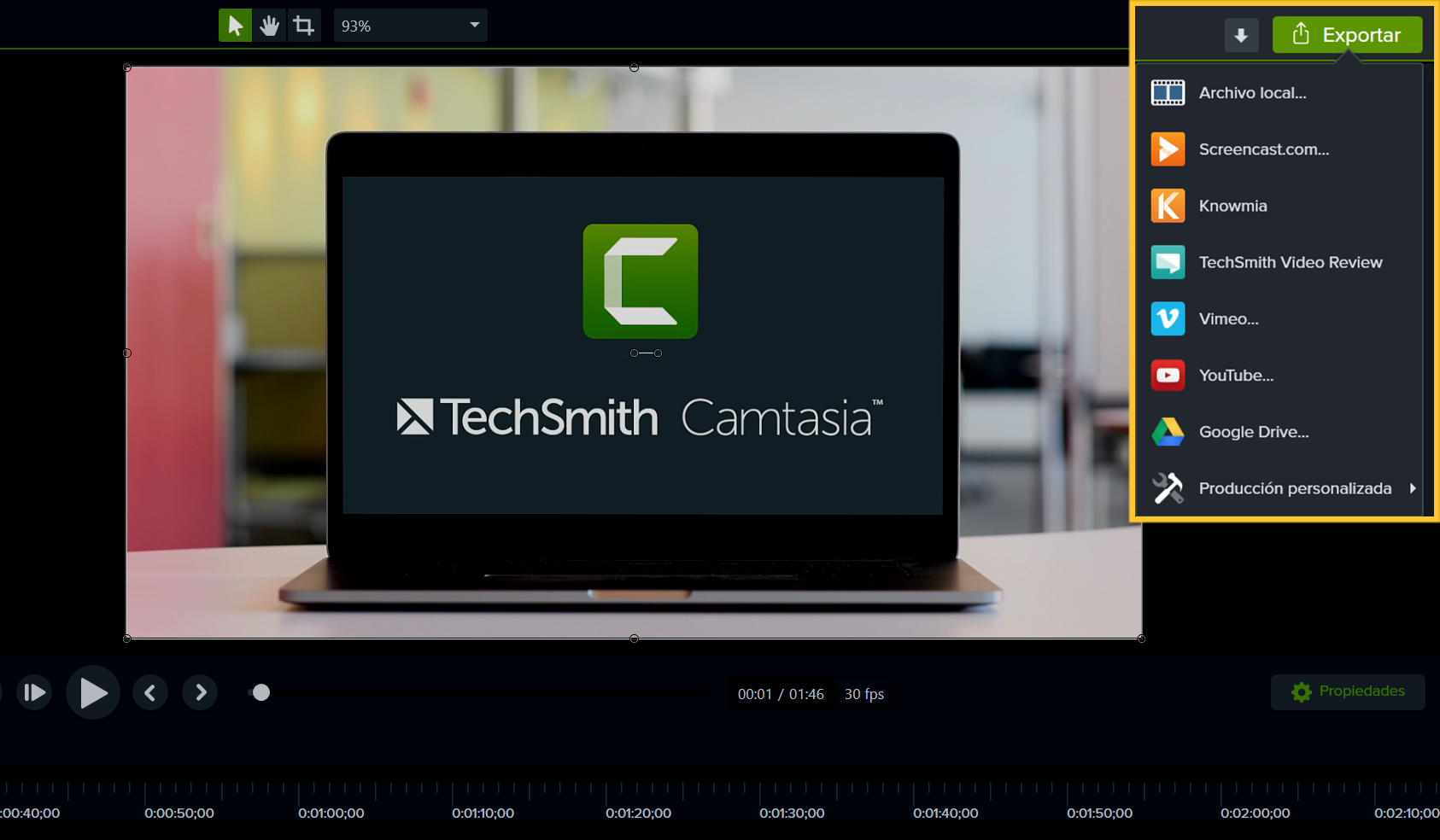 export button in camtasia