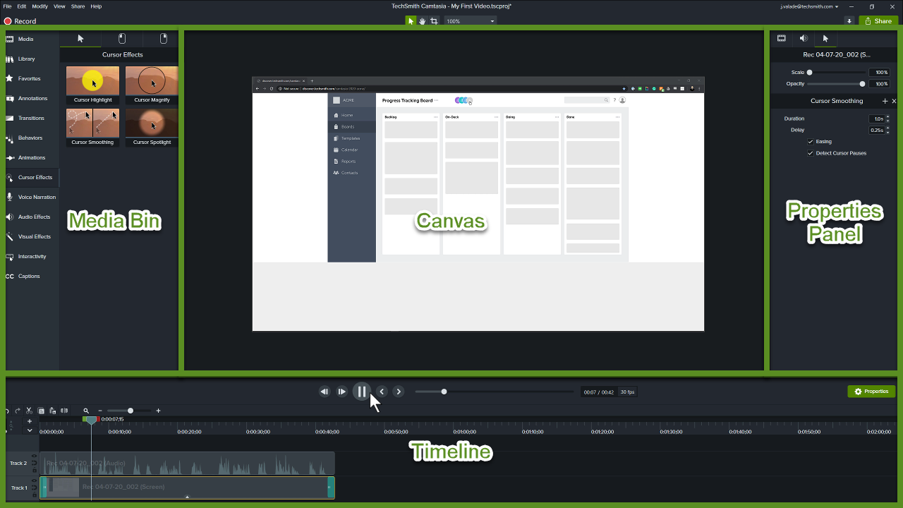 Camtasia Editor with sections labeled