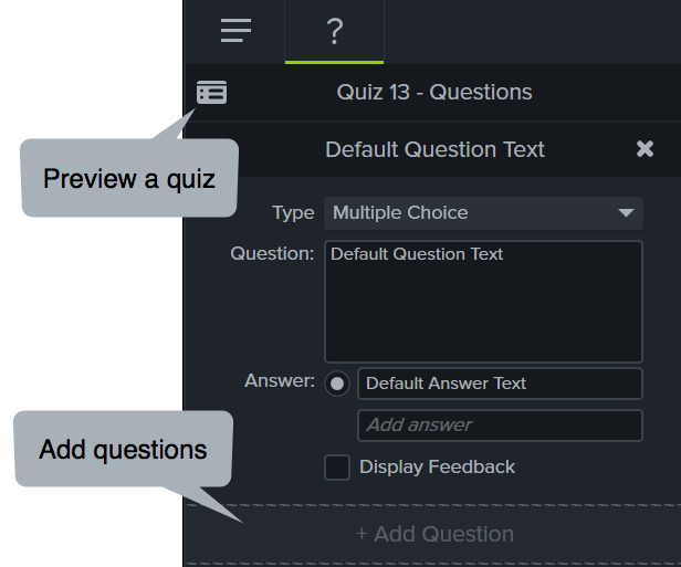 Properties panel with the quiz tab selected