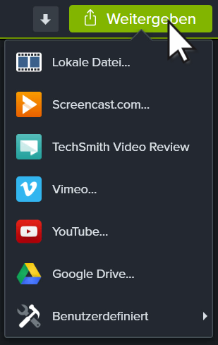 Camtasia share menu