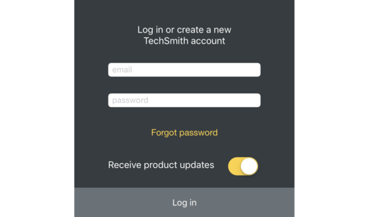 Log in screen for TechSmith Capture.