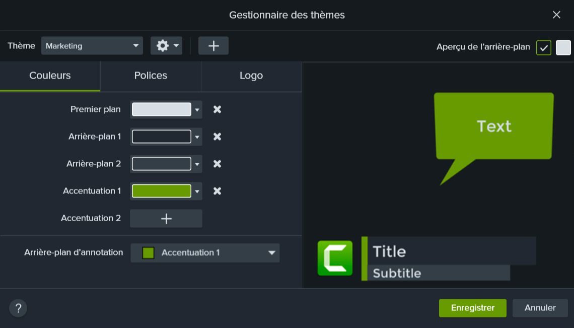 Camtasia theme manager