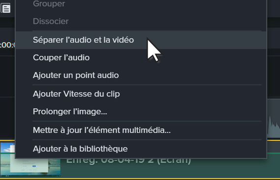 Camtasia user interface context menu