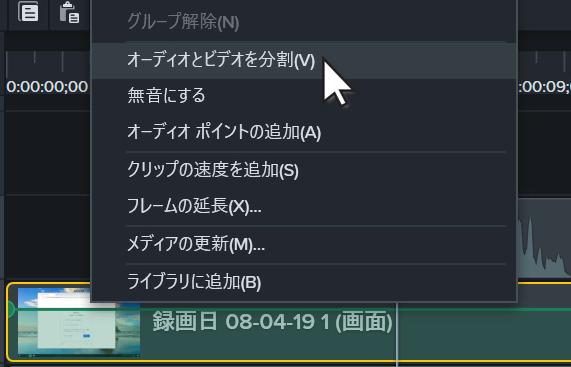 Separate audio and video menu item
