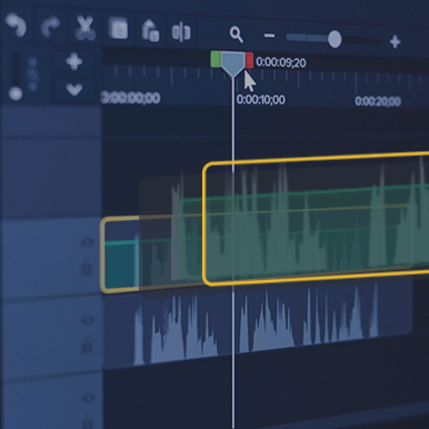Camtasia timeline showing a track with waveforms