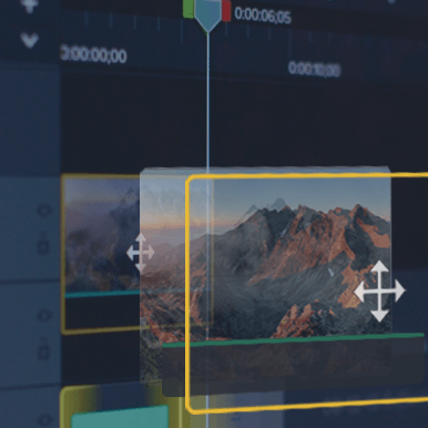 Camtasia UI showing a transitions on the timeline