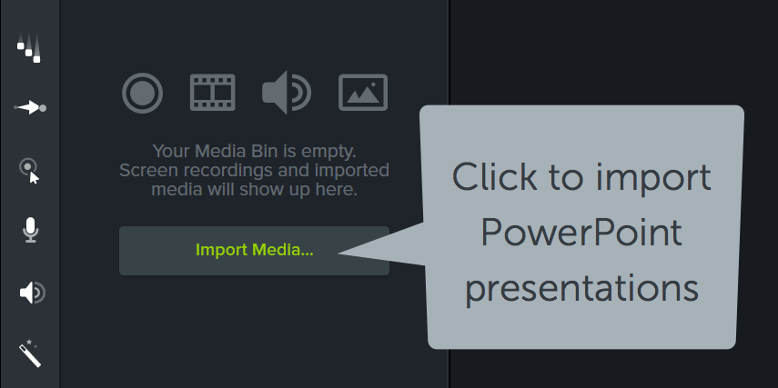 tools panel showing the import media button