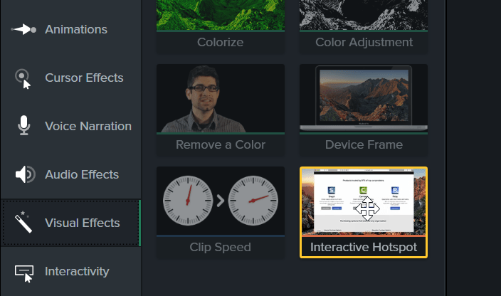 Hotspot effect highlighted in the tools panel
