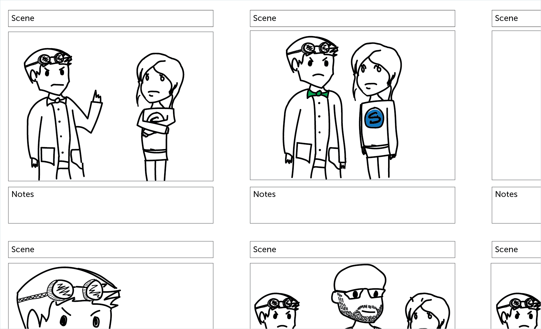 make a tutorial video storyboard with picture of people talking