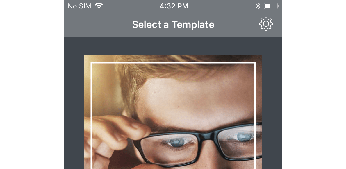 Template selecting window