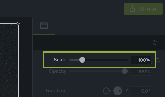 Camtasia properties panel showing 100% scale