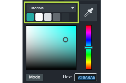 Color picker tool open with theme colors circled