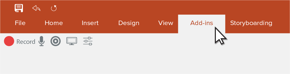 PowerPoint toolbar with the add-ins tab selected