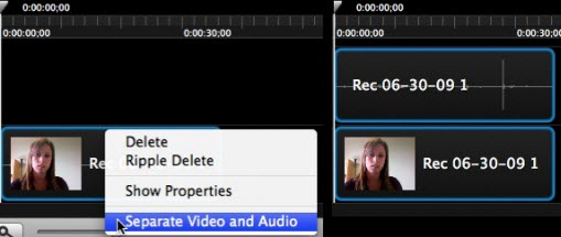 Separate the audio and video into two clips
