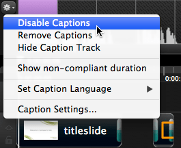 Disable captions