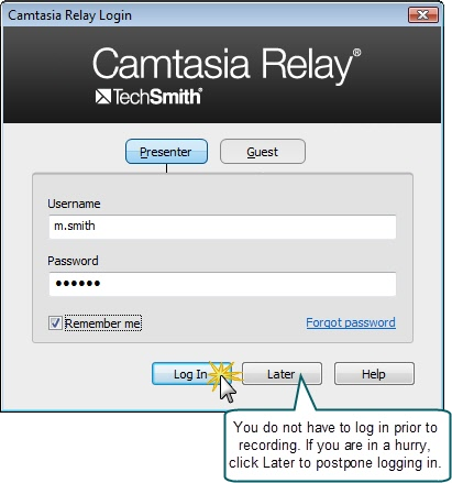 Camtasia Relay login dialog box.