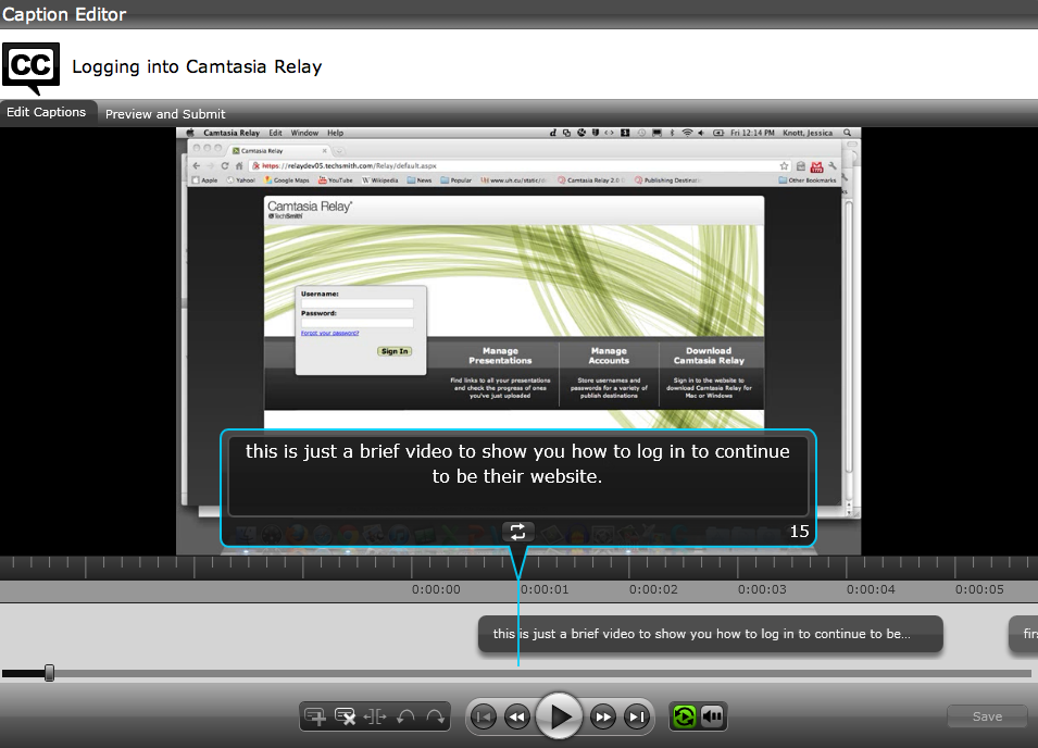 The Camtasia Relay caption editor.
