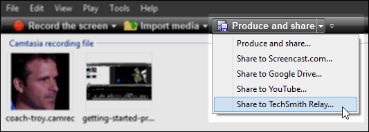 Camtasia Studio Produce and Share menu