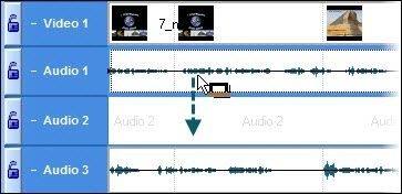 Move Audio clip from Audio 1  to Audio 2