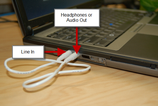 Audio cable loop in computer ports