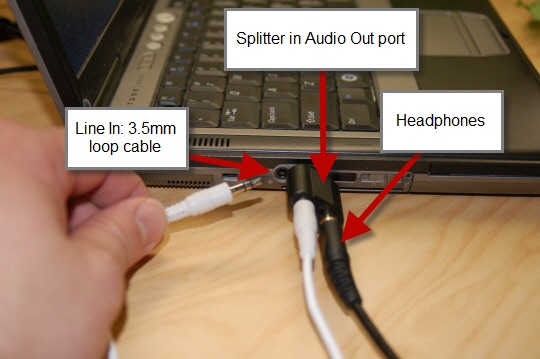 Audio splitter with headphones and line in