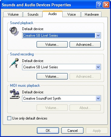 Control panel audio settings