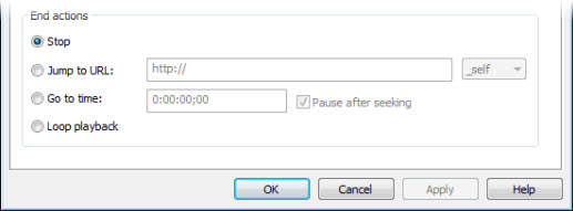 End Actions in Flash Options dialog