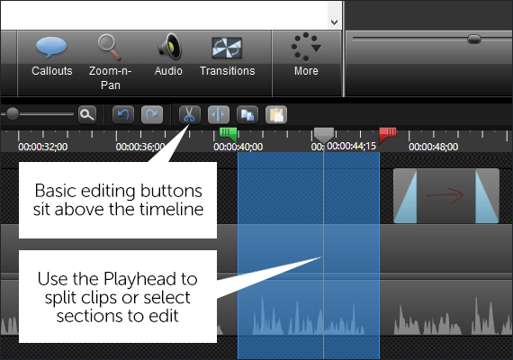 Camtasia Timeline interface, with a playhead selection active