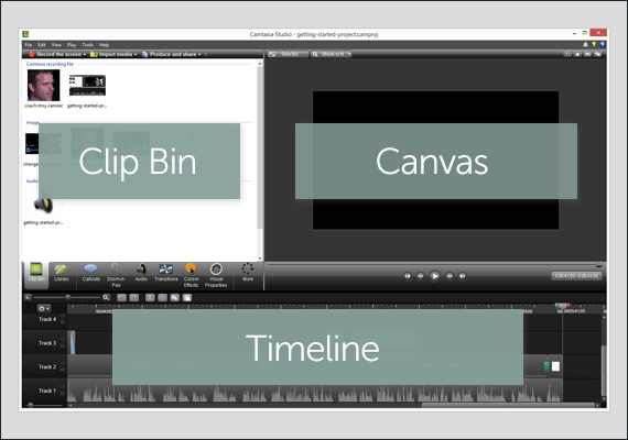 Camtasia Editor interface with area labels