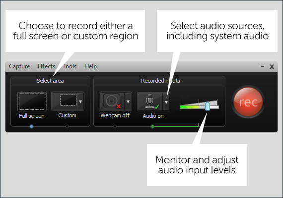 Camtasia Recorder Interface