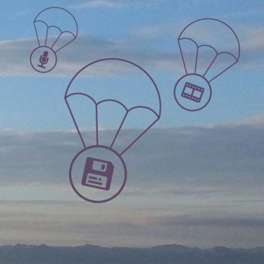media glyphs parachuting down from the sky