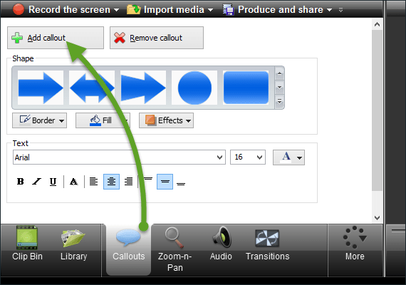 Camtasia Callouts interface