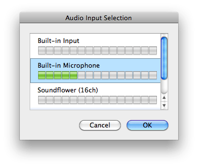 select audio
