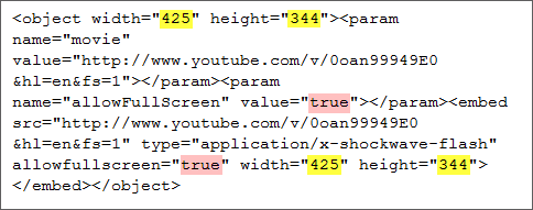 sample youtube embed code