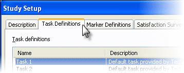 Task definitions tab