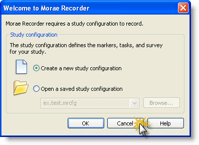 Welcome to Morae Recorder dialog box